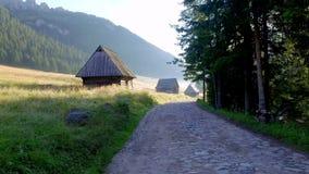 Fuga de montanha entre casas de campo no vale Chocholowska, montanhas de Tatra, Polônia vídeos de arquivo
