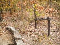 Fuga de natureza em uma floresta do outono, sinal, passagem rústica Imagem de Stock