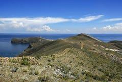 Fuga do Inca em Isla del Solenóide com Titicaca fotos de stock royalty free