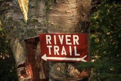 Fuga do rio que caminha o sinal na árvore de vidoeiro Fotos de Stock Royalty Free
