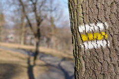 Fuga do turista com sinal amarelo Fotografia de Stock