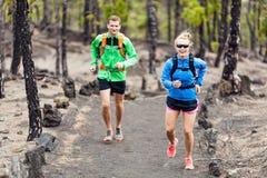 Fuga dos pares que corre na floresta Imagem de Stock