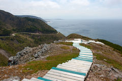 Fuga e Cabot Trail Highway da skyline em Nova Scotia Fotografia de Stock