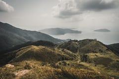 Fuga na parte superior da montanha Lantau foto de stock