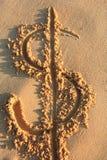 Fuga no sinal do dolla da praia imagem de stock