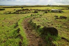 Fuga Sightseeing dentro de Papa Vaka Archaeological Site na Ilha de Páscoa, o Chile imagem de stock