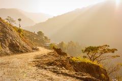 Fuga sobre no passeio na montanha do acampamento base de Annapurna, Nepal imagem de stock royalty free