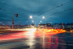 Fugas da luz na cidade Imagem de Stock