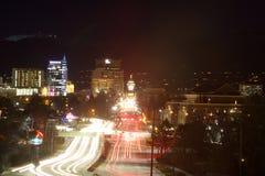 Fugas da luz no bulevar do Capitólio de Boise Imagens de Stock Royalty Free