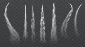 Fugas de condensação do avião Grupo de arrasto do vetor do fumo do jato ilustração stock