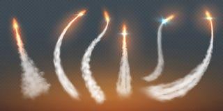 Fugas de condensação de Rocket As linhas do voo do avião do efeito do vapor do jato do fogo voam o contrail dos aviões da explosã ilustração do vetor