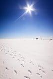 Fugas do passo na neve no dia ensolarado Imagens de Stock