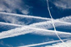 Fugas do vapor dos aviões Imagem de Stock