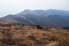 Fugas e planície de montanha no cume da montanha Imagem de Stock