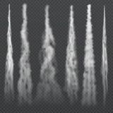 Fugas fumarentos da luz da condensação dos aviões no céu Fumo de arrasto do jato O plano nevoento da fuga, sobe rapidamente efeit ilustração do vetor