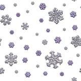 Fugenlose Beschaffenheit von verschiedenen Schneeflocken auf weißem Hintergrund Stockbilder