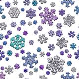 Fugenlose Beschaffenheit von verschiedenen Schneeflocken auf weißem Hintergrund Stockfotos