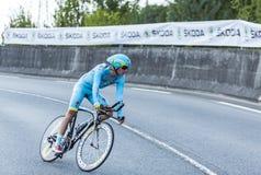 骑自行车者雅各布Fuglsang -环法自行车赛2014年 库存照片