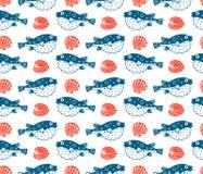 Fugu and shells,  seamless pattern Stock Image