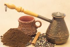 Fugural still life photo image of jezve, aroma coffee and pepper stock photography