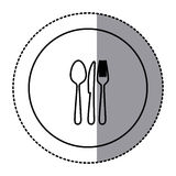 Fugure emblem metal cutlery icon Royalty Free Stock Photo