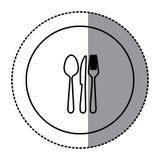 Fugure emblem metal cutlery icon. Figure emblem metal cutlery icon,  illustraction design image Royalty Free Stock Photo