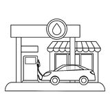 Fugure gas station filling up fuel a car Stock Photos