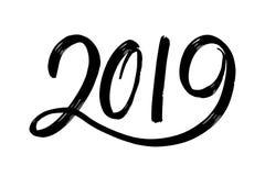Fugures disegnati a mano 2019, simbolo del nuovo anno Nuovo anno numero 2019 immagini stock libere da diritti