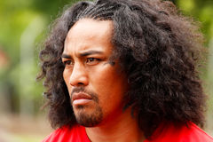 Fuifui Moimoi gives interview upon arrival at his home island Va Royalty Free Stock Image