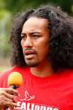 Fuifui Moimoi gives interview upon arrival at his home island Va Royalty Free Stock Photos