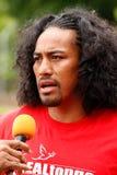 Fuifui Moimoi gives interview upon arrival at his home island Va Royalty Free Stock Photos