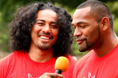 Fuifui Moimoi gives interview upon arrival at his home island Va Royalty Free Stock Images