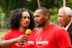 Fuifui Moimoi gives interview upon arrival at his home island Va Stock Photo