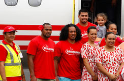 Fuifui Moimoi posing for picture upon arrival at his home island Royalty Free Stock Images