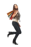 Fuii Length of a Girl With Bags Stock Images