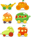 Fuit cars icons. Fun set of six cars made up out of fruits Royalty Free Stock Image