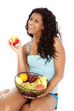 fuit jabłczana koszykowa czarny kobieta Fotografia Stock