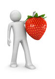Fuits collection - Man with sweet strawberry stock illustration