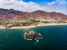 Fujairah piaskowata plaża w Zjednoczone Emiraty Arabskie obraz stock
