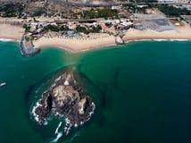 Fujairah sandy beach in the United Arab Emirates. Aerial view uae sea seaside above water sharjah travel tourist destination mountain rock arid desert sandstone royalty free stock image