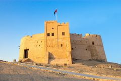 Fujairah, UAE - December, 2014: View to Old Fujairah Fort Al Bit royalty free stock photography
