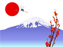 Fuji. Japanese style illustration of a background of Mount Fuji and sunrise Stock Illustration