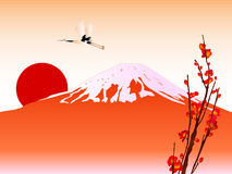 Fuji. Background illustration of red Fuji and sunrise Stock Photography