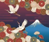 Fuji berg, kran- och krysantemumblommor royaltyfri illustrationer