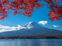 Fuji-Berg mit Rotahornblatt und Tourismus auf Boot im See Lizenzfreies Stockbild
