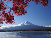 Fuji-Berg mit Rotahornblatt und Tourismus auf Boot im See Lizenzfreie Stockfotografie