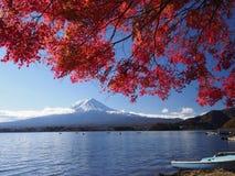 Fuji-Berg mit Rotahornblatt und Tourismus auf Boot im See Stockfotografie
