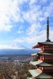 Fuji con la pagoda de Chureito Fotos de archivo libres de regalías