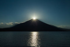 Fuji diamond , Sunset on Top of Mountain Fuji Stock Photos