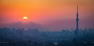 Fuji Diamond , Sunset at Top of Mt.Fuji Stock Photography